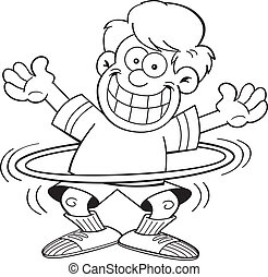 Cartoon boy with a hula hoop - Black and white illustration...
