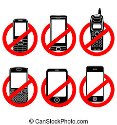 No phone vector sign set