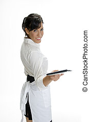 smiling waitress showing bill book on white background