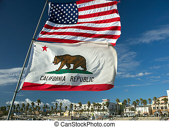 huntington beach flags - US and California state flag at...