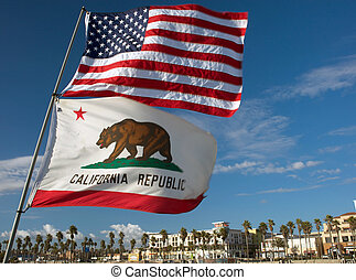 US and California state flags - US and California state...