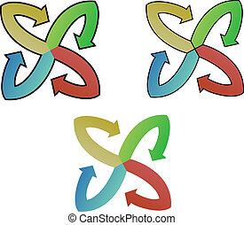circle arrows - red, blue, green and yellow arrows creating...
