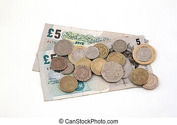 British (uk) currency on a white background.