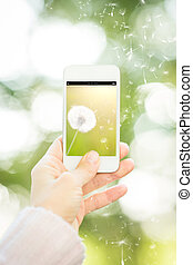 Woman holding smartphone with flower
