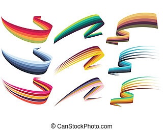 Ribbon design elements - Set of colorful futuristic ribbon...