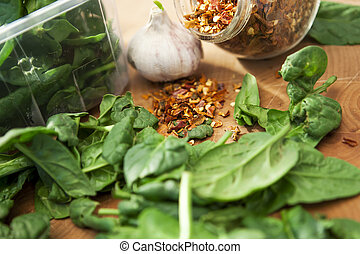 Chili Flakes - Chili flakes with spinach and garlic. Shallow...