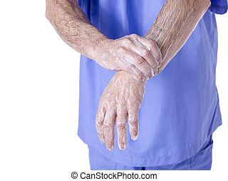 554 surgeon washing his hands - Close-up shot of male...
