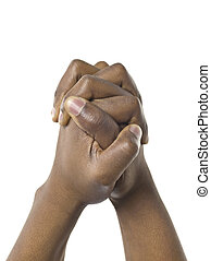 705 praying hands - Close up image of praying hands against...