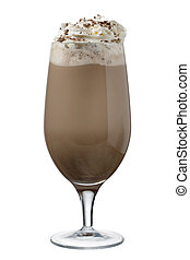 a glass of chocolate shake with whipped cream - Close-up...