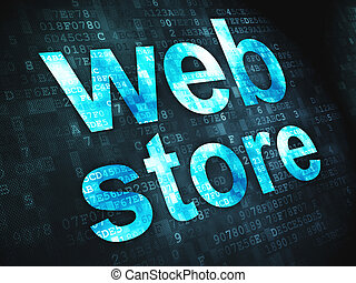 Web design SEO concept: Web Store on digital background -...
