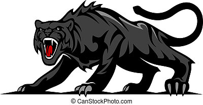 Danger black panther or puma for mascot and tattoo design