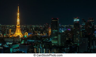 Tokyo, Japan - Timelapse video showing the transition from...