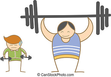 Two Man Fitness - cartoon characters of two men lifting...