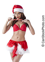 gorgeous sexy girl santa with candy cane