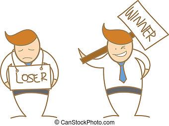winner loser - cartoon character of man winner loser