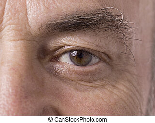 old man eye - Illustration of old man eye in a close-up...