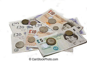 british currency - British currency with different value...