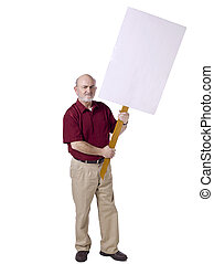 old man holding a stick with a white board protesting -...