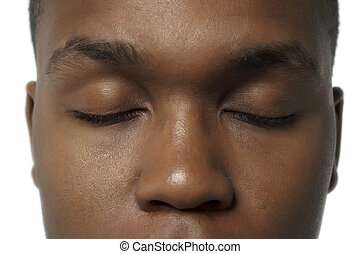 black american with close eyes - A face of the black...