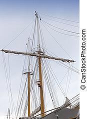 Vintage sailing ship mast and sails