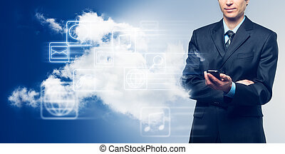 Businessman with touch screen phone and the cloud with icons