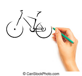 Woman's Hand draws a bicycle on white - Woman's Hand draws a...