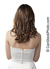 blonde lady on rear view - Close-up image of a blonde lady...