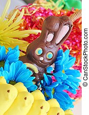 Easter treats 7 - A chocolate Easter bunny in front of a...