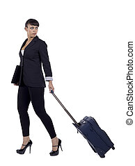business trip - Businesswoman leaving for a business trip