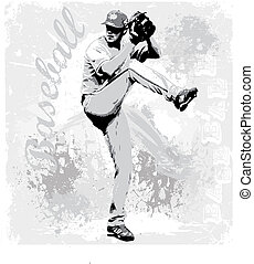 baseball pitcher - illustration for shirt printed and poster
