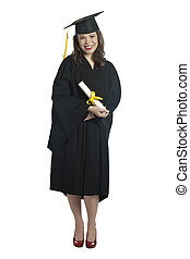 female graduate with diploma - Full length image of a female...