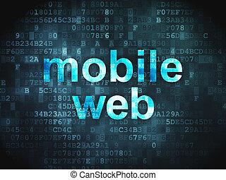 Web design SEO concept: Mobile Web on digital background -...