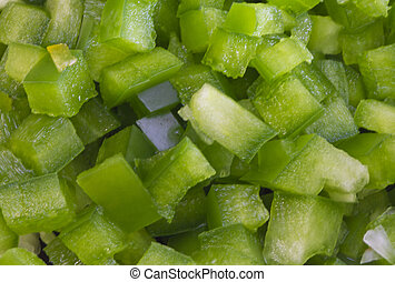 Chopped Green Bell Pepper  - chopped pieces of green pepper