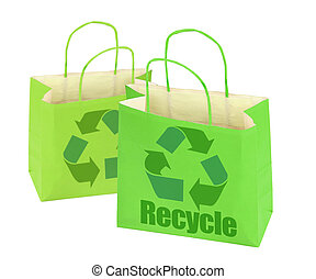 two shopping bags with recycle symbol on white