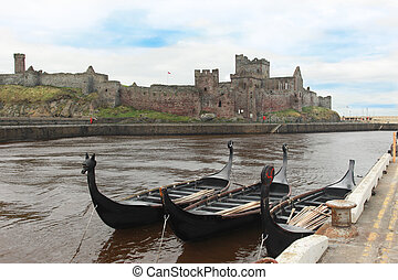 Viking Long Boats and Castle - Viking Long Boats with Castle...
