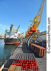 Cargo crane, pipe, train and ship - Pipe stack, ship ans...