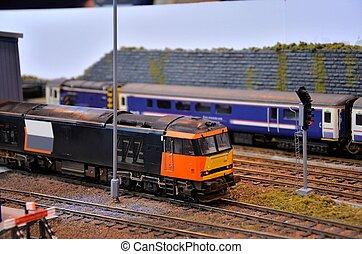 Diesel, eléctrico, modelo, tren, motor