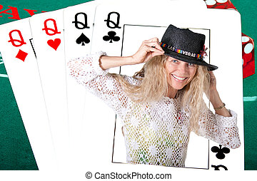 las vegas deck of cards with real human queen