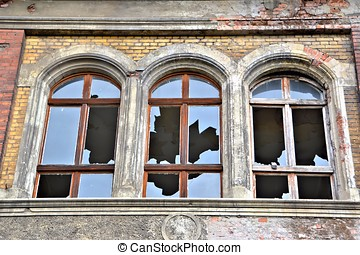 Facade with broken windows
