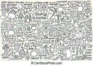 Notebook Doodle Design Elements set