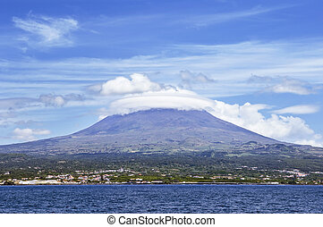 Pico volcano view from the sea, Pico island, Azores