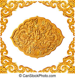 golden frame and dragon carve isolated on white background