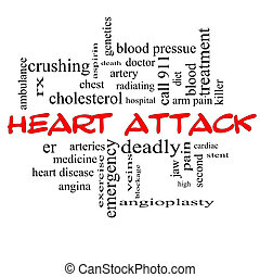 Heart Attack Word Cloud Concept in red caps with great terms...