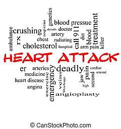 Coração, ataque, palavra, nuvem, conceito,...