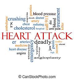 Coração, ataque, palavra, nuvem, conceito