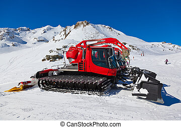 Machines for skiing slope preparations at Bad Hofgastein Austria - nature and sport background