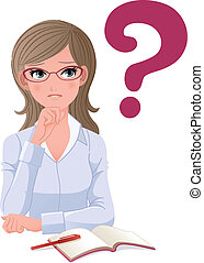 Eyewear glasses woman with question mark on white background...