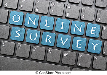 Online survey on keyboard - Blue online survey key on...