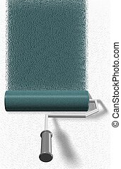 Roller brush - A roller brush painting a white wall blue