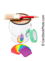 Paint Can and Brush - A paint can with a brush on top and...